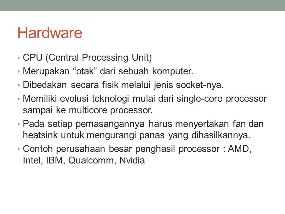 """Hardware CPU (Central Processing Unit) Merupakan """"otak"""" dari sebuah komputer. Dibedakan secara fisik melalui jenis socket-nya. Memiliki evolusi teknol"""