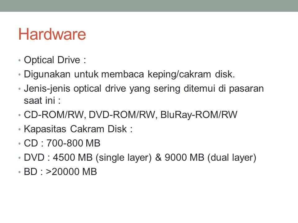 Hardware Optical Drive : Digunakan untuk membaca keping/cakram disk. Jenis-jenis optical drive yang sering ditemui di pasaran saat ini : CD-ROM/RW, DV