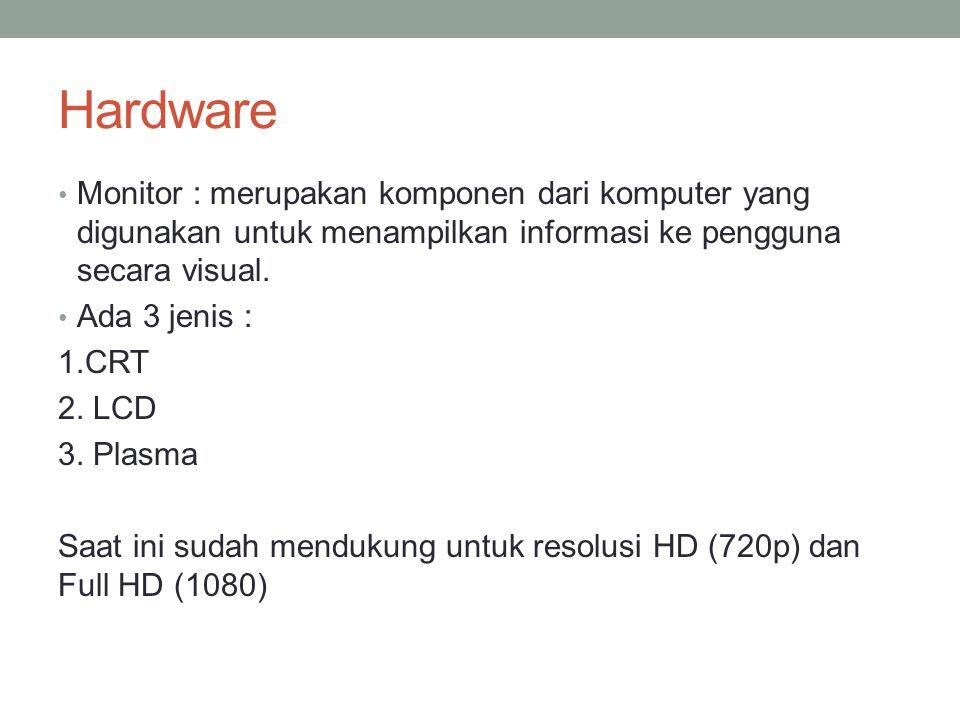 Hardware Monitor : merupakan komponen dari komputer yang digunakan untuk menampilkan informasi ke pengguna secara visual. Ada 3 jenis : 1.CRT 2. LCD 3