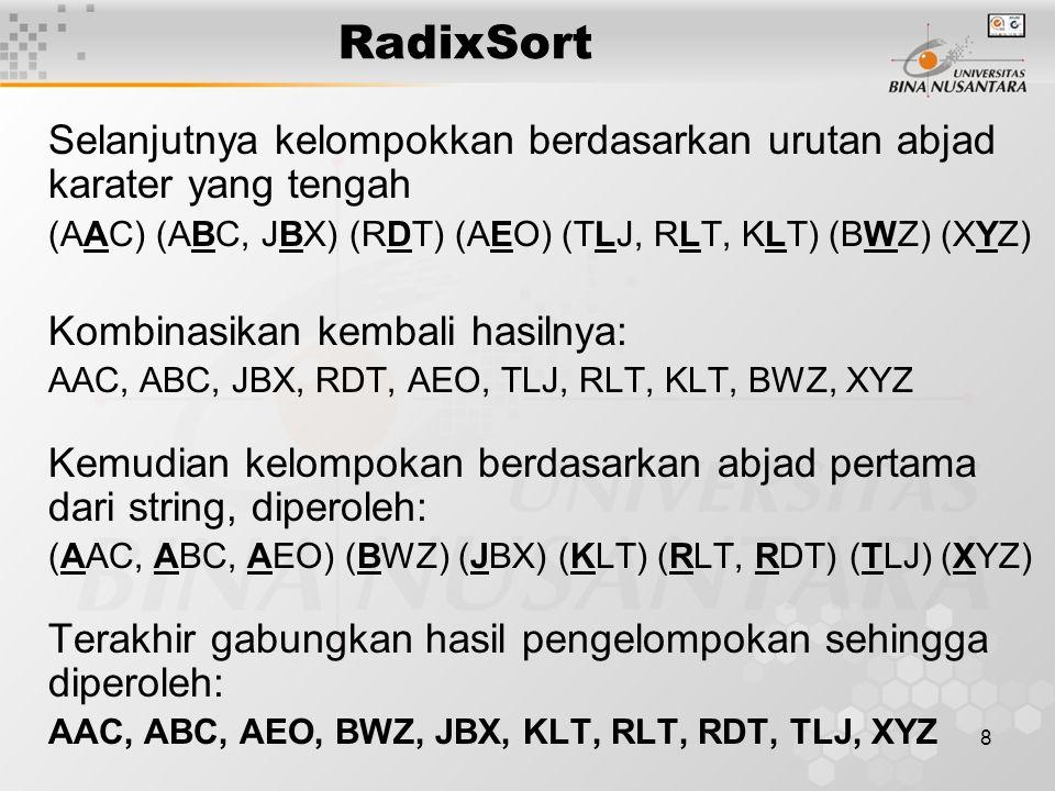 9 RadixSort Disamping itu radix sort dapat juga digunakan untuk mengurutkan bilangan.