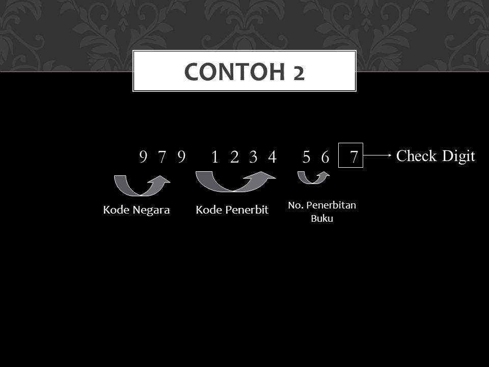 9 7 9 1 2 3 4 5 6 7 CONTOH 2 Check Digit Kode NegaraKode Penerbit No. Penerbitan Buku