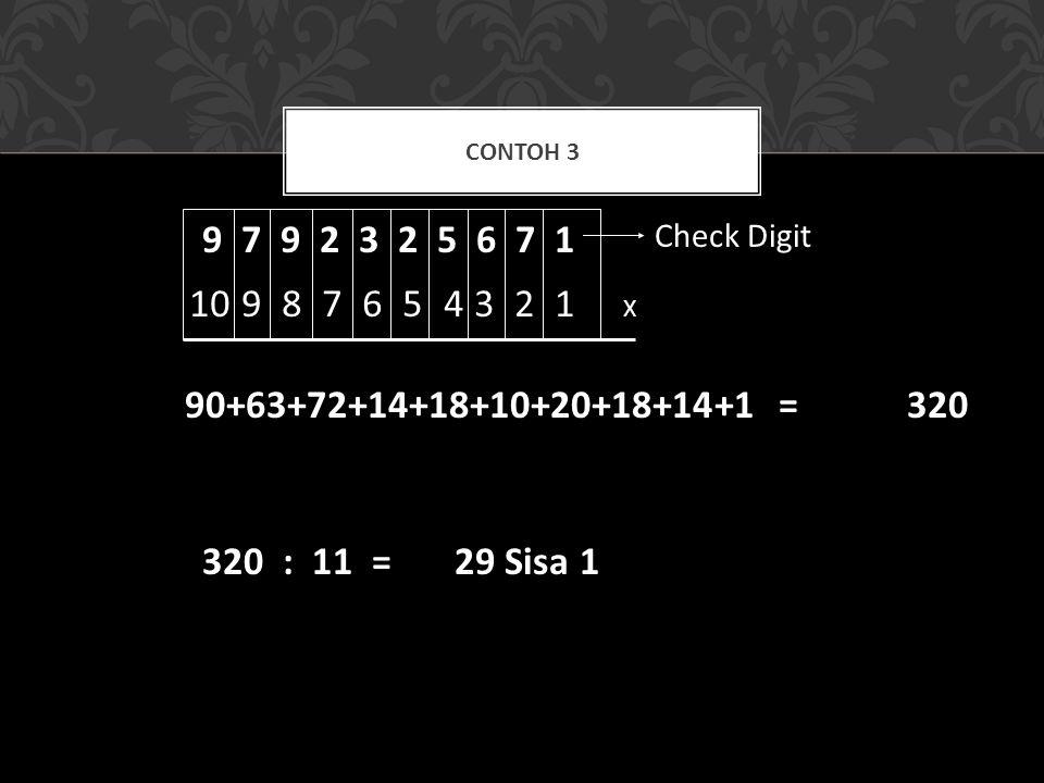 10 9 8 7 6 5 4 3 2 1 CONTOH 3 9 7 9 2 3 2 5 6 7 1 Check Digit X 90+63+72+14+18+10+20+18+14+1 =320 320 : 11 = 29 Sisa 1