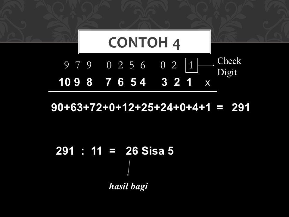 9 7 9 0 2 5 6 0 2 1 CONTOH 4 Check Digit X 10 9 8 7 6 5 4 3 2 1 90+63+72+0+12+25+24+0+4+1 =291 291 : 11 = 26 Sisa 5 hasil bagi