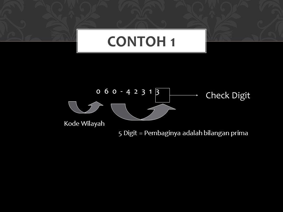0 6 0 - 4 2 3 1 3 CONTOH 1 5 Digit = Pembaginya adalah bilangan prima Check Digit Kode Wilayah
