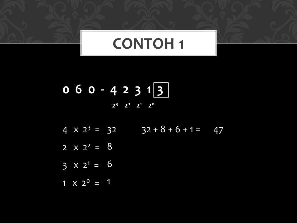 CONTOH 1 0 6 0 - 4 2 3 1 3 2 3 2 2 2 1 2 0 4x 2 3 = 2x 2 2 = 3x 2 1 = 1 x 2 0 = 32 8 6 1 32 + 8 + 6 + 1 =47