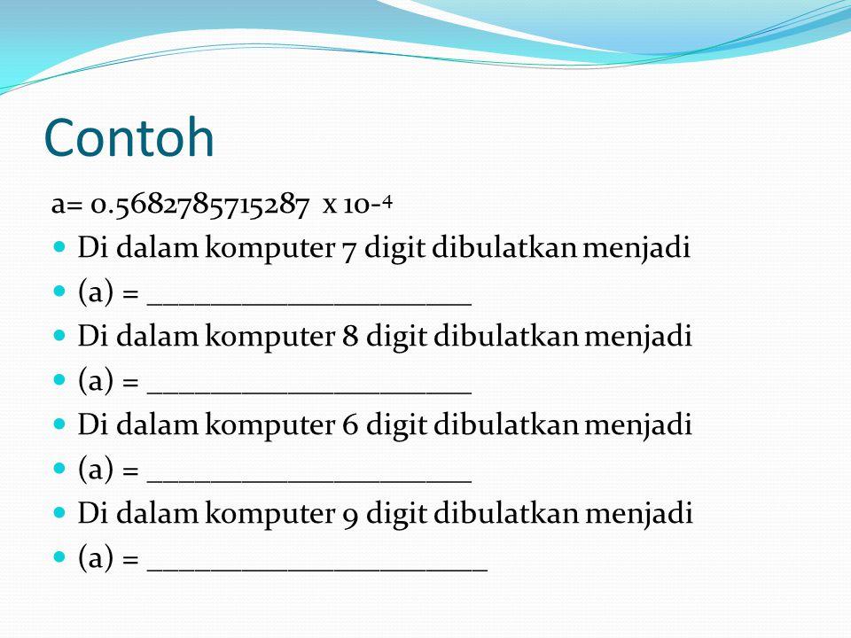 Contoh a= 0.5682785715287 x 10- 4 Di dalam komputer 7 digit dibulatkan menjadi (a) = _____________________ Di dalam komputer 8 digit dibulatkan menjad