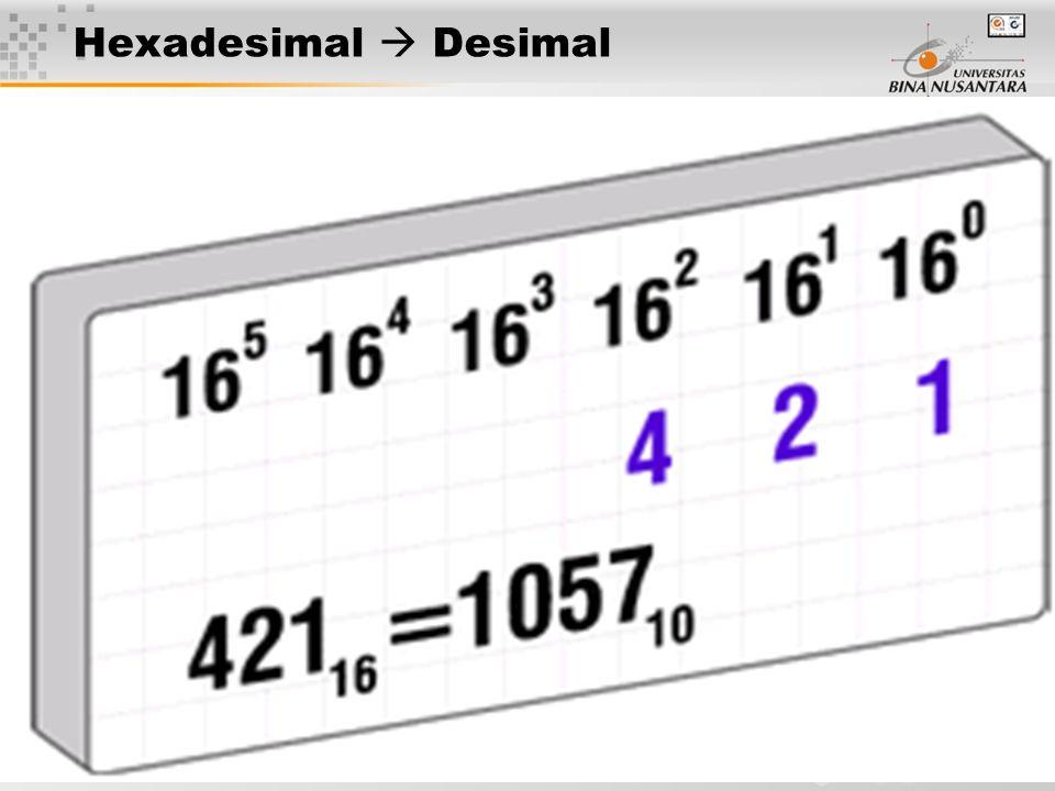 18 Hexadesimal  Desimal