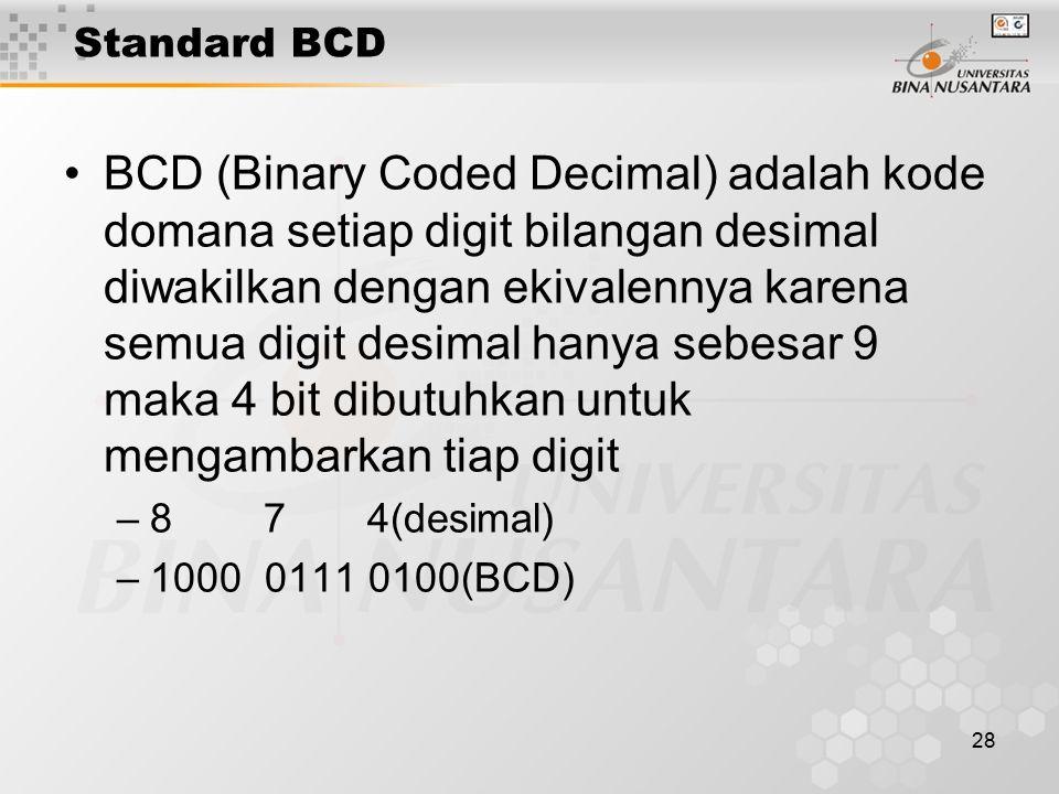 28 Standard BCD BCD (Binary Coded Decimal) adalah kode domana setiap digit bilangan desimal diwakilkan dengan ekivalennya karena semua digit desimal hanya sebesar 9 maka 4 bit dibutuhkan untuk mengambarkan tiap digit –8 7 4(desimal) –1000 0111 0100(BCD)