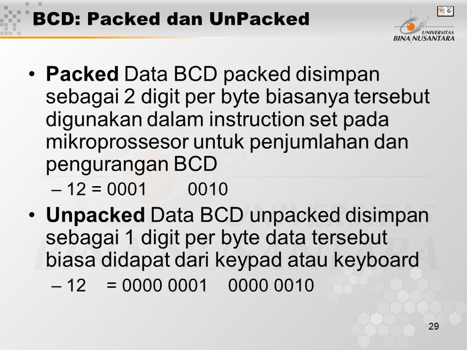 29 BCD: Packed dan UnPacked Packed Data BCD packed disimpan sebagai 2 digit per byte biasanya tersebut digunakan dalam instruction set pada mikroprossesor untuk penjumlahan dan pengurangan BCD –12 = 0001 0010 Unpacked Data BCD unpacked disimpan sebagai 1 digit per byte data tersebut biasa didapat dari keypad atau keyboard –12 = 0000 0001 0000 0010