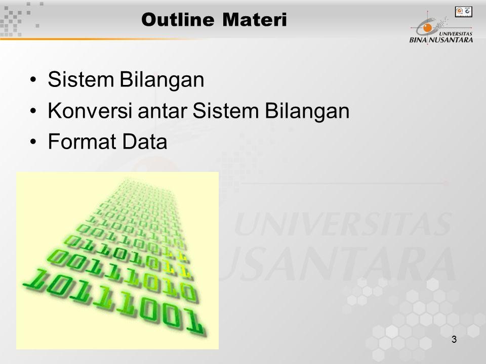 3 Outline Materi Sistem Bilangan Konversi antar Sistem Bilangan Format Data