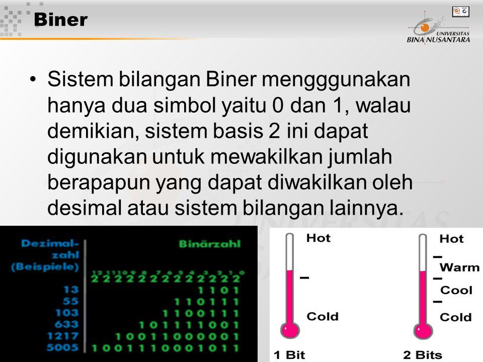 7 Biner Sistem bilangan Biner mengggunakan hanya dua simbol yaitu 0 dan 1, walau demikian, sistem basis 2 ini dapat digunakan untuk mewakilkan jumlah berapapun yang dapat diwakilkan oleh desimal atau sistem bilangan lainnya.