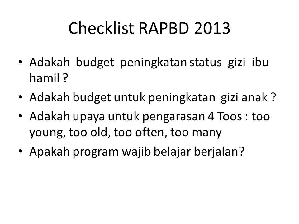 Checklist RAPBD 2013 Adakah budget peningkatan status gizi ibu hamil ? Adakah budget untuk peningkatan gizi anak ? Adakah upaya untuk pengarasan 4 Too