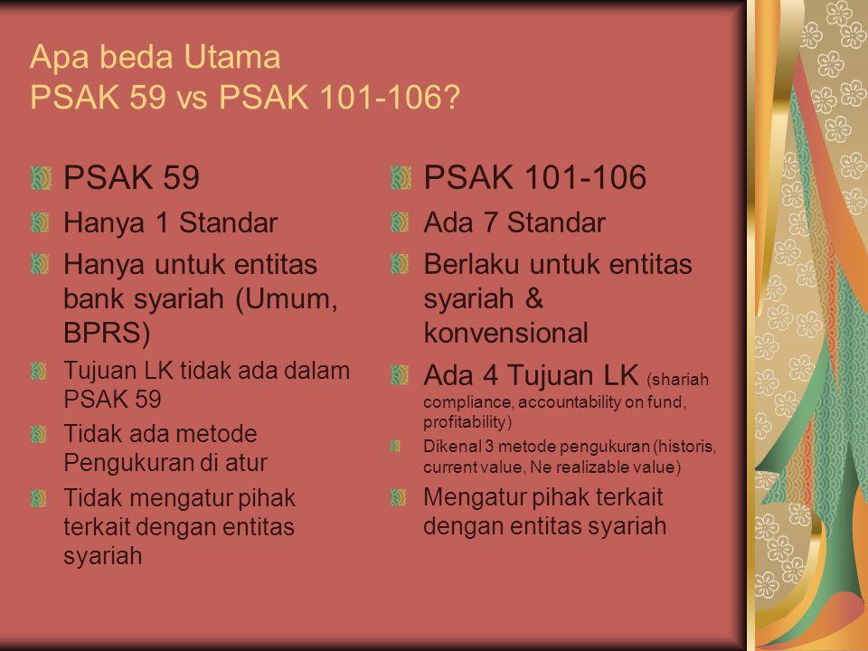 Apa beda Utama PSAK 59 vs PSAK 101-106? PSAK 59 Hanya 1 Standar Hanya untuk entitas bank syariah (Umum, BPRS) Tujuan LK tidak ada dalam PSAK 59 Tidak