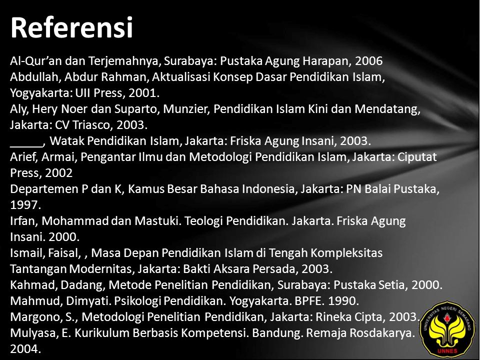 Referensi Al-Qur'an dan Terjemahnya, Surabaya: Pustaka Agung Harapan, 2006 Abdullah, Abdur Rahman, Aktualisasi Konsep Dasar Pendidikan Islam, Yogyakarta: UII Press, 2001.