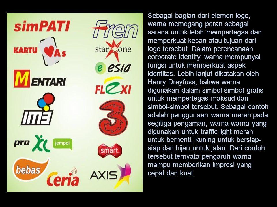Sebagai bagian dari elemen logo, warna memegang peran sebagai sarana untuk lebih mempertegas dan memperkuat kesan atau tujuan dari logo tersebut. Dala
