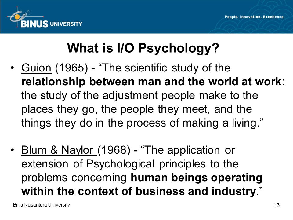 What is I/O Psychology.