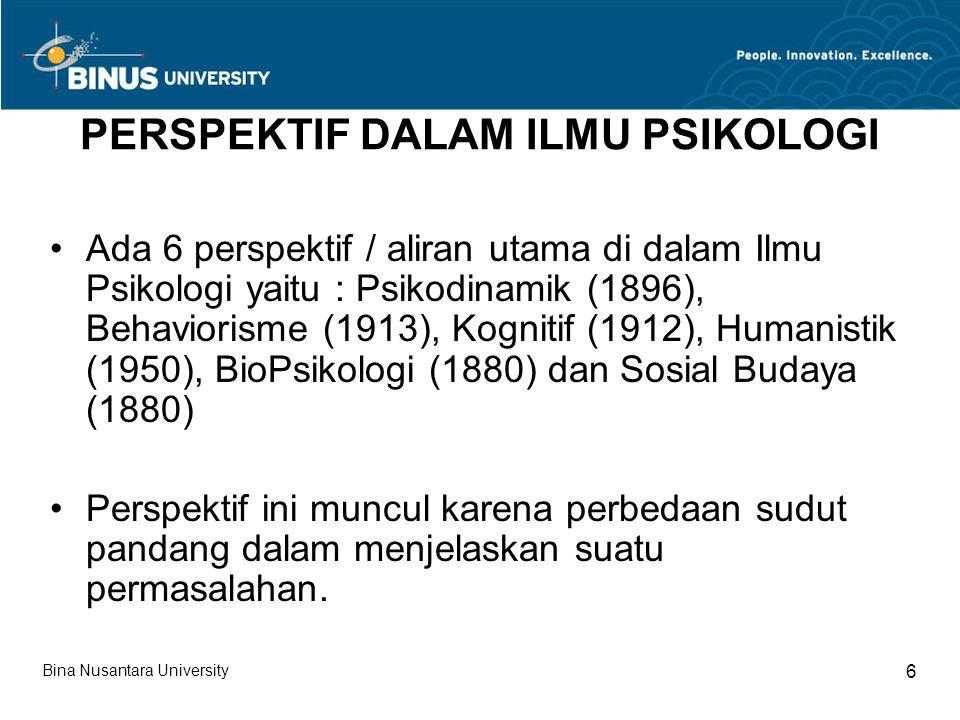 PSIKODINAMIK Psikodinamik artinya adalah jiwa yang aktif Pembahasan utama Psikodinamik ditujukan kepada alam bawah sadar/ketidaksadaran/unconciousness Tokoh utama dari aliran ini adalah Sigmund freud (1856 – 1939) Beberapa teori penting : Iceberg, Psikoseksual, Libido, Id-Ego-Superego dan Mekanisme Pertahanan Diri Bina Nusantara University 7