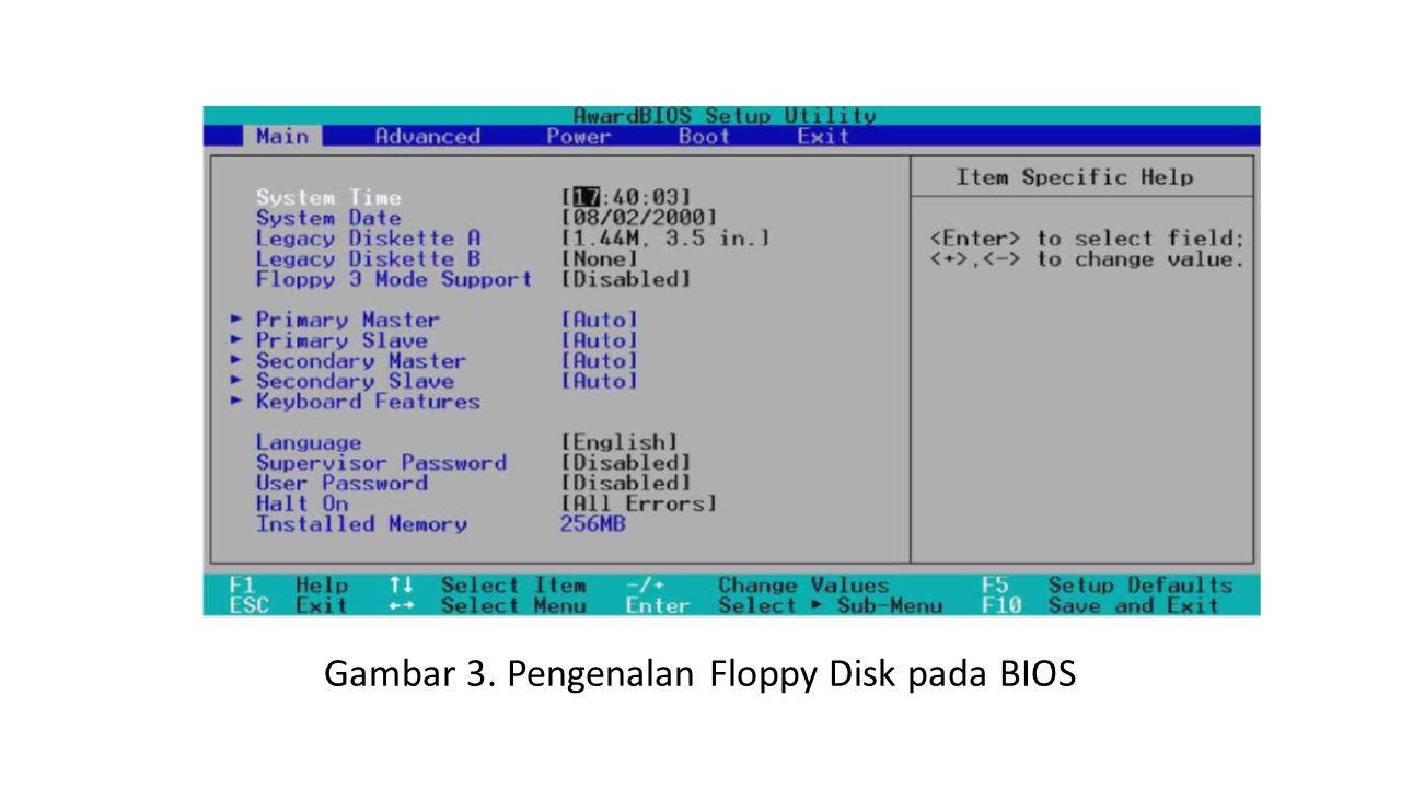 Gambar 3. Pengenalan Floppy Disk pada BIOS