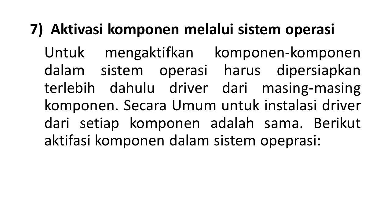 7) Aktivasi komponen melalui sistem operasi Untuk mengaktifkan komponen-komponen dalam sistem operasi harus dipersiapkan terlebih dahulu driver dari masing-masing komponen.