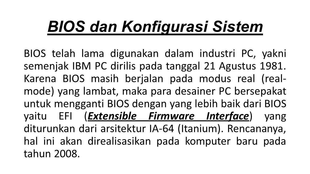 BIOS telah lama digunakan dalam industri PC, yakni semenjak IBM PC dirilis pada tanggal 21 Agustus 1981.