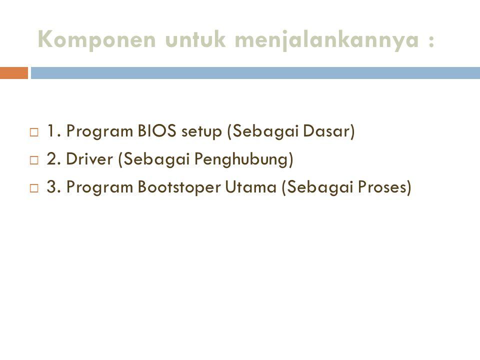 Komponen untuk menjalankannya :  1. Program BIOS setup (Sebagai Dasar)  2. Driver (Sebagai Penghubung)  3. Program Bootstoper Utama (Sebagai Proses