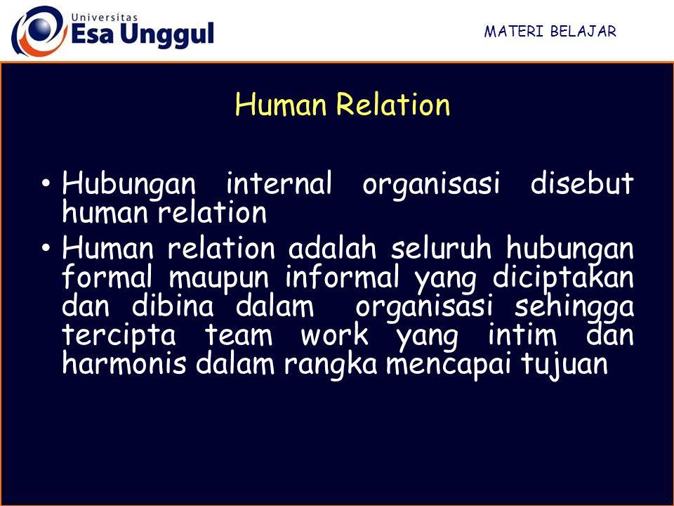 MATERI BELAJAR Human Relation Hubungan internal organisasi disebut human relation Human relation adalah seluruh hubungan formal maupun informal yang diciptakan dan dibina dalam organisasi sehingga tercipta team work yang intim dan harmonis dalam rangka mencapai tujuan