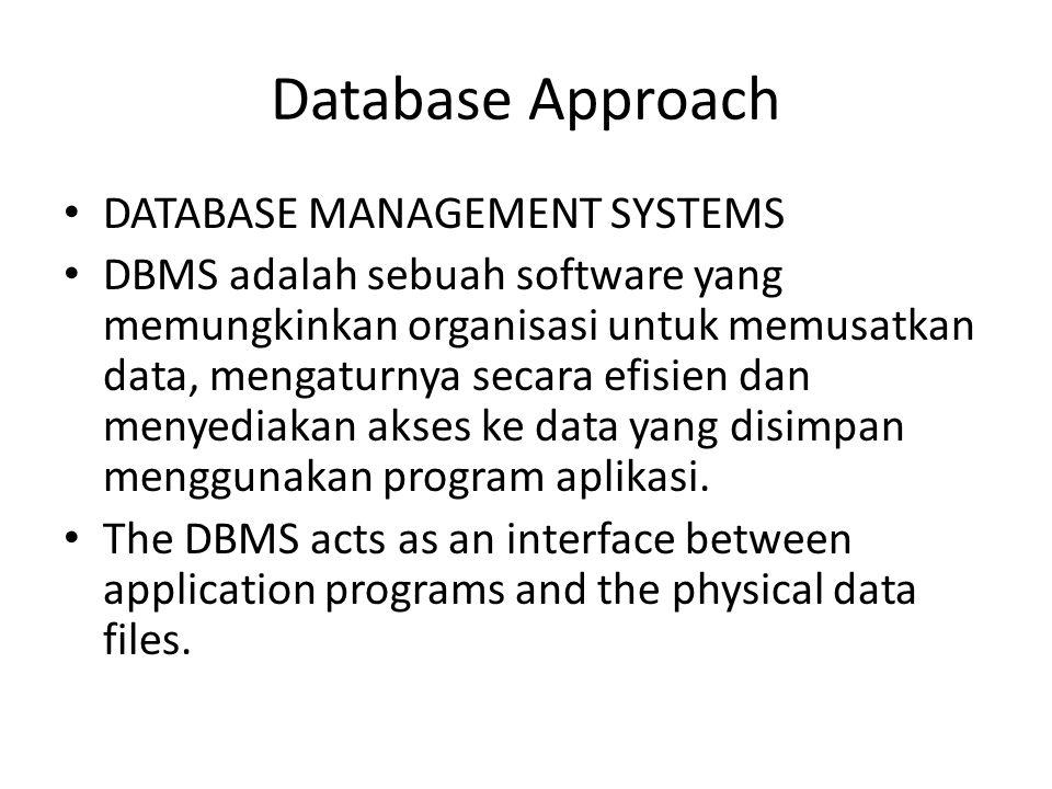 Database Approach DATABASE MANAGEMENT SYSTEMS DBMS adalah sebuah software yang memungkinkan organisasi untuk memusatkan data, mengaturnya secara efisien dan menyediakan akses ke data yang disimpan menggunakan program aplikasi.
