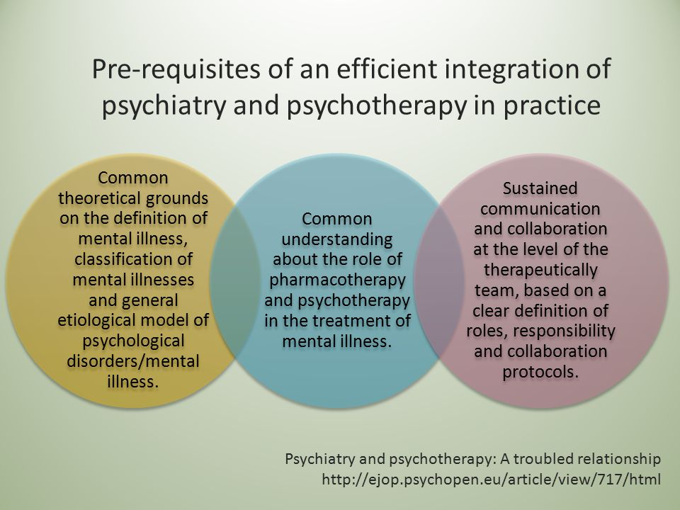 Pre-requisites of an efficient integration of psychiatry and psychotherapy in practice Common theoretical grounds on the definition of mental illness,