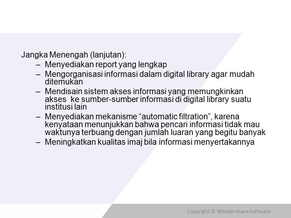 Copyright © Wondershare Software Jangka Menengah (lanjutan): –Menyediakan report yang lengkap –Mengorganisasi informasi dalam digital library agar mud