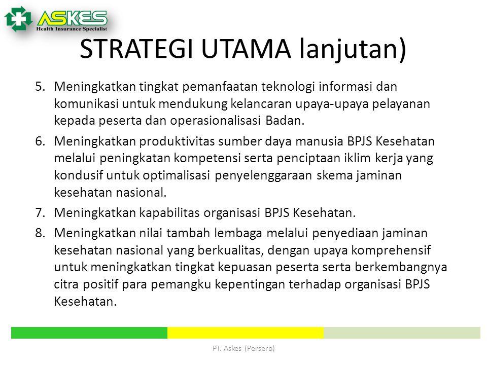 PT. Askes (Persero) 5. Meningkatkan tingkat pemanfaatan teknologi informasi dan komunikasi untuk mendukung kelancaran upaya-upaya pelayanan kepada pes