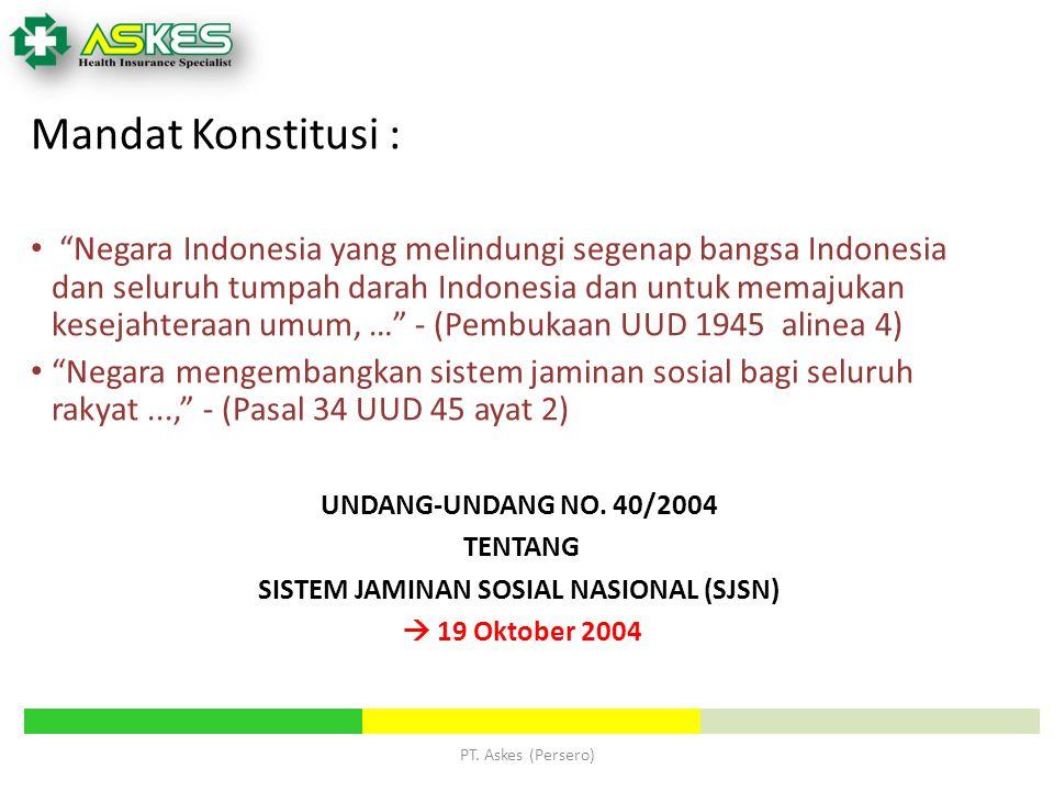 """Mandat Konstitusi : """"Negara Indonesia yang melindungi segenap bangsa Indonesia dan seluruh tumpah darah Indonesia dan untuk memajukan kesejahteraan um"""