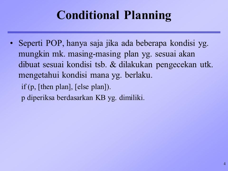 4 Conditional Planning Seperti POP, hanya saja jika ada beberapa kondisi yg.