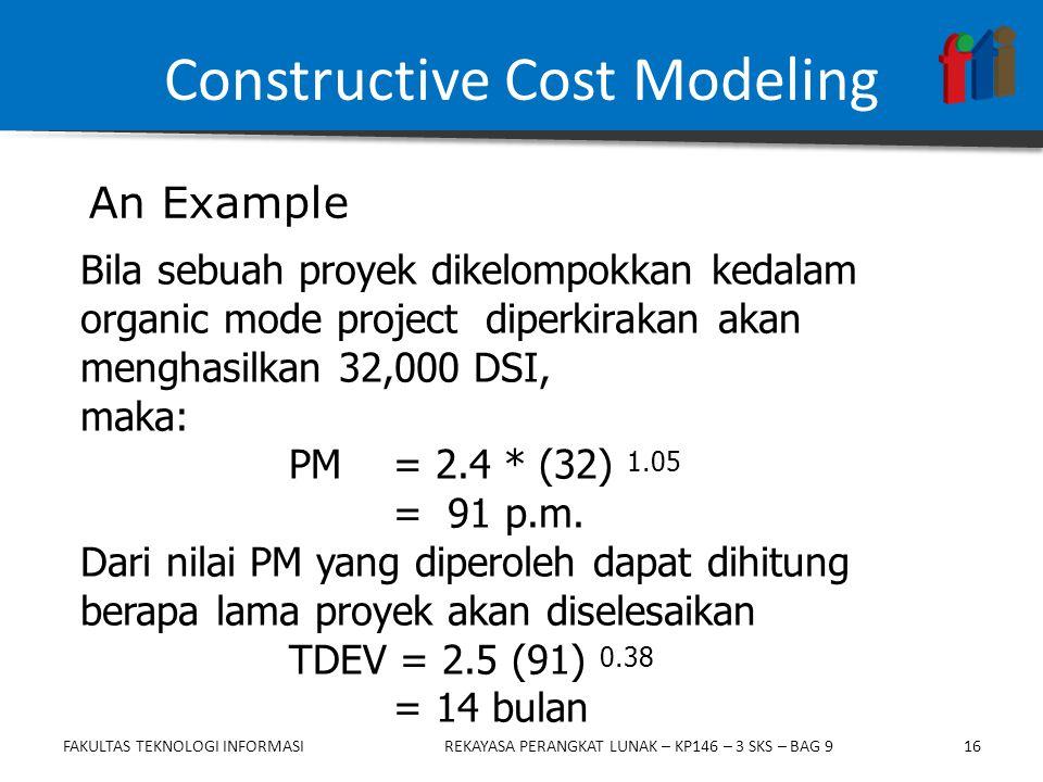 16 Bila sebuah proyek dikelompokkan kedalam organic mode project diperkirakan akan menghasilkan 32,000 DSI, maka: PM = 2.4 * (32) 1.05 = 91 p.m.