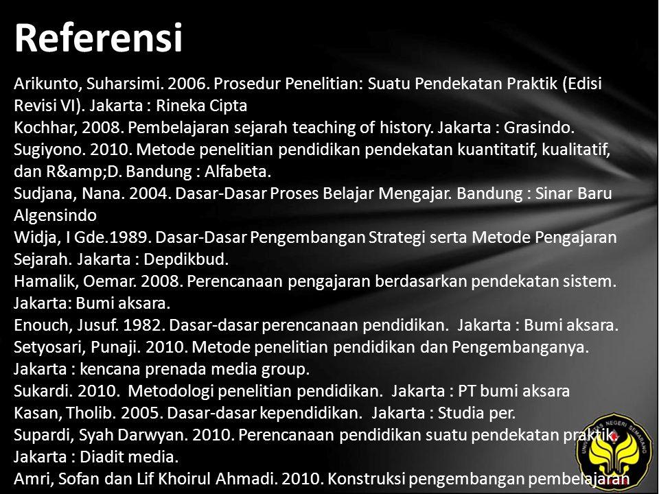 Referensi Arikunto, Suharsimi. 2006. Prosedur Penelitian: Suatu Pendekatan Praktik (Edisi Revisi VI). Jakarta : Rineka Cipta Kochhar, 2008. Pembelajar