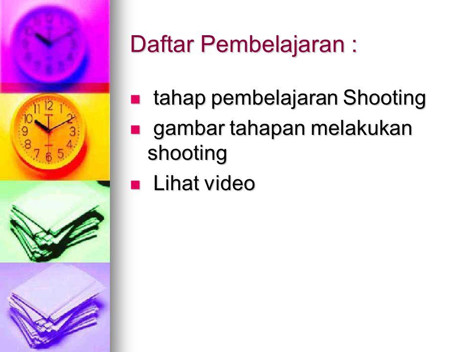 Daftar Pembelajaran : tahap pembelajaran Shooting tahap pembelajaran Shooting gambar tahapan melakukan shooting gambar tahapan melakukan shooting Lihat video Lihat video