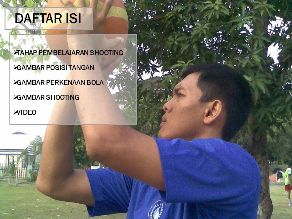 DAFTAR ISI  TAHAP PEMBELAJARAN SHOOTING  GAMBAR POSISI TANGAN  GAMBAR PERKENAAN BOLA  GAMBAR SHOOTING  VIDEO