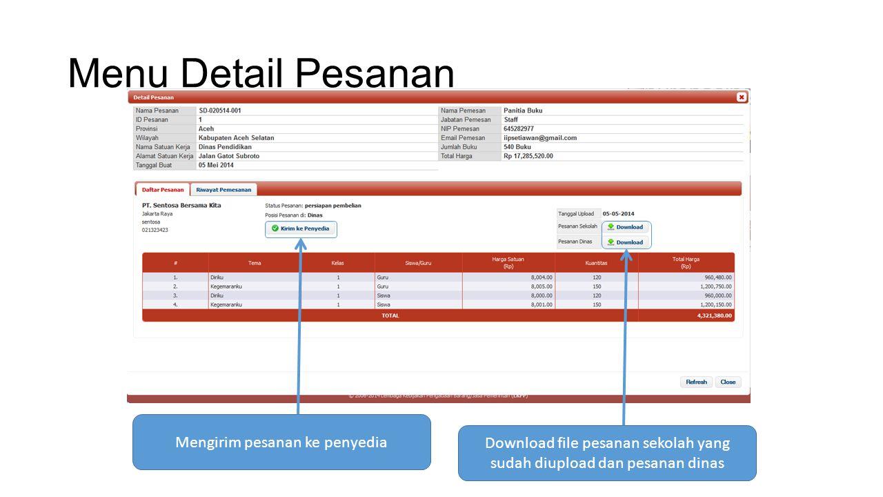 Menu Detail Pesanan Download file pesanan sekolah yang sudah diupload dan pesanan dinas Mengirim pesanan ke penyedia