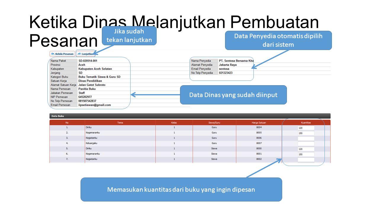 Ketika Dinas Melanjutkan Pembuatan Pesanan Data Penyedia otomatis dipilih dari sistem Data Dinas yang sudah diinput Memasukan kuantitas dari buku yang ingin dipesan Jika sudah tekan lanjutkan