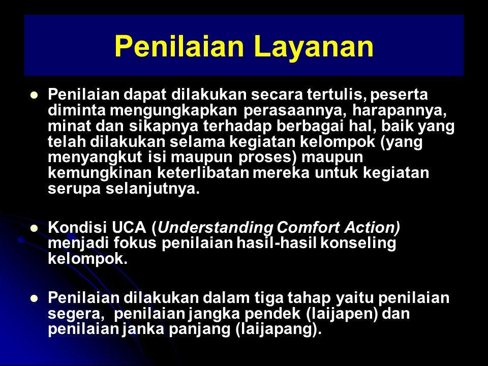 Tahap 1 : Pembentukan Tahap 2 : Peralihan Tahap 3 : Kegiatan BKp Kel Bebas Kel Tugas Topik Umum KKp Kelompok Bebas Masalah Pribadi Tahap 4 : Pengakhiran