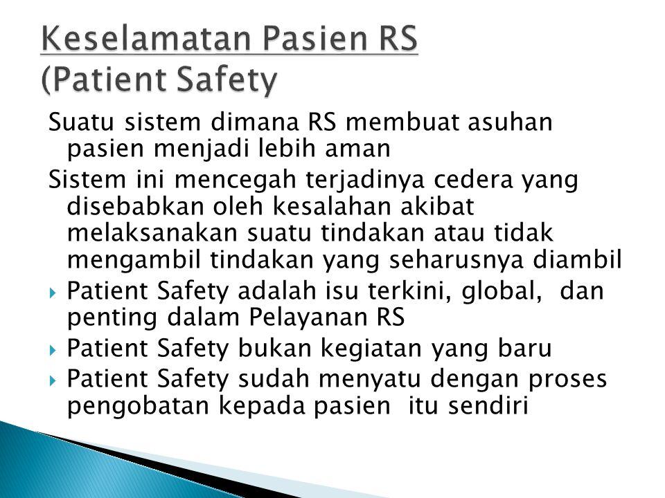 Suatu sistem dimana RS membuat asuhan pasien menjadi lebih aman Sistem ini mencegah terjadinya cedera yang disebabkan oleh kesalahan akibat melaksanak