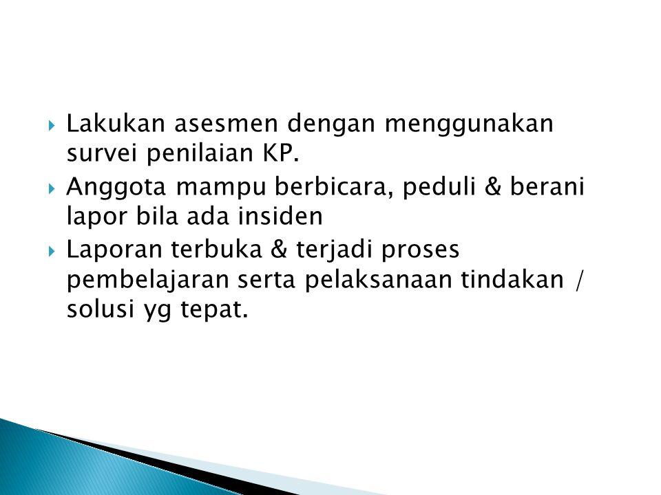  Lakukan asesmen dengan menggunakan survei penilaian KP.  Anggota mampu berbicara, peduli & berani lapor bila ada insiden  Laporan terbuka & terjad