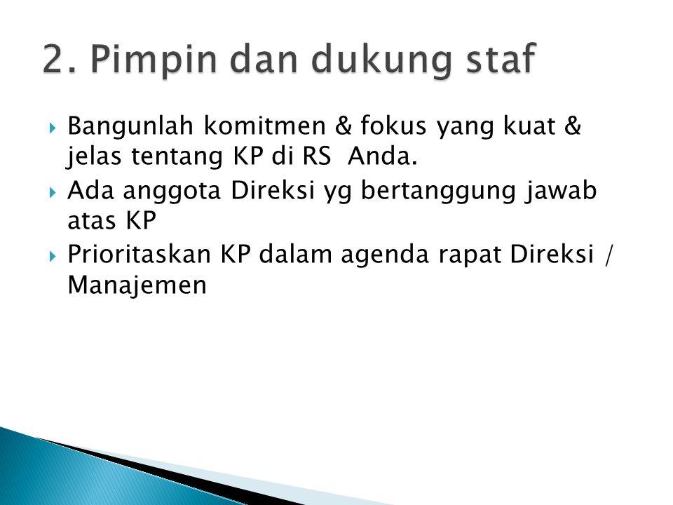  Bangunlah komitmen & fokus yang kuat & jelas tentang KP di RS Anda.  Ada anggota Direksi yg bertanggung jawab atas KP  Prioritaskan KP dalam agend