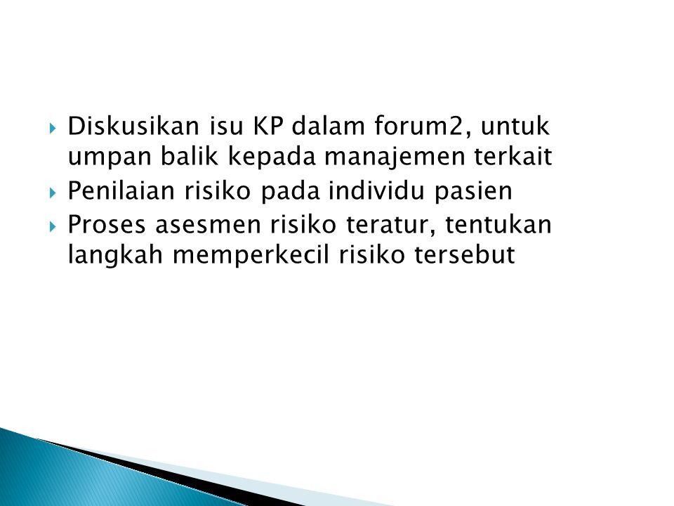  Diskusikan isu KP dalam forum2, untuk umpan balik kepada manajemen terkait  Penilaian risiko pada individu pasien  Proses asesmen risiko teratur,