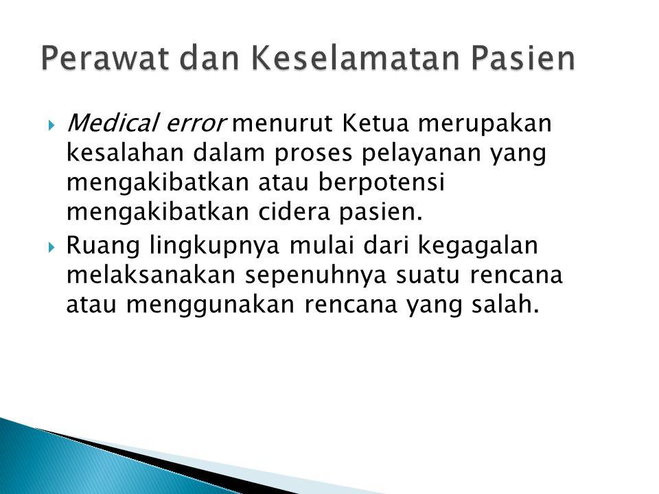  Medical error menurut Ketua merupakan kesalahan dalam proses pelayanan yang mengakibatkan atau berpotensi mengakibatkan cidera pasien.  Ruang lingk