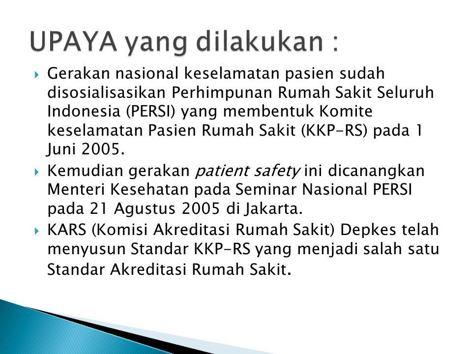  Gerakan nasional keselamatan pasien sudah disosialisasikan Perhimpunan Rumah Sakit Seluruh Indonesia (PERSI) yang membentuk Komite keselamatan Pasie