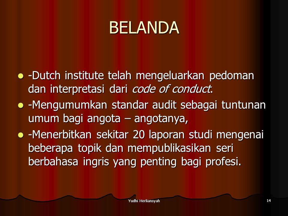 Yudhi Herliansyah 14 BELANDA -Dutch institute telah mengeluarkan pedoman dan interpretasi dari code of conduct.