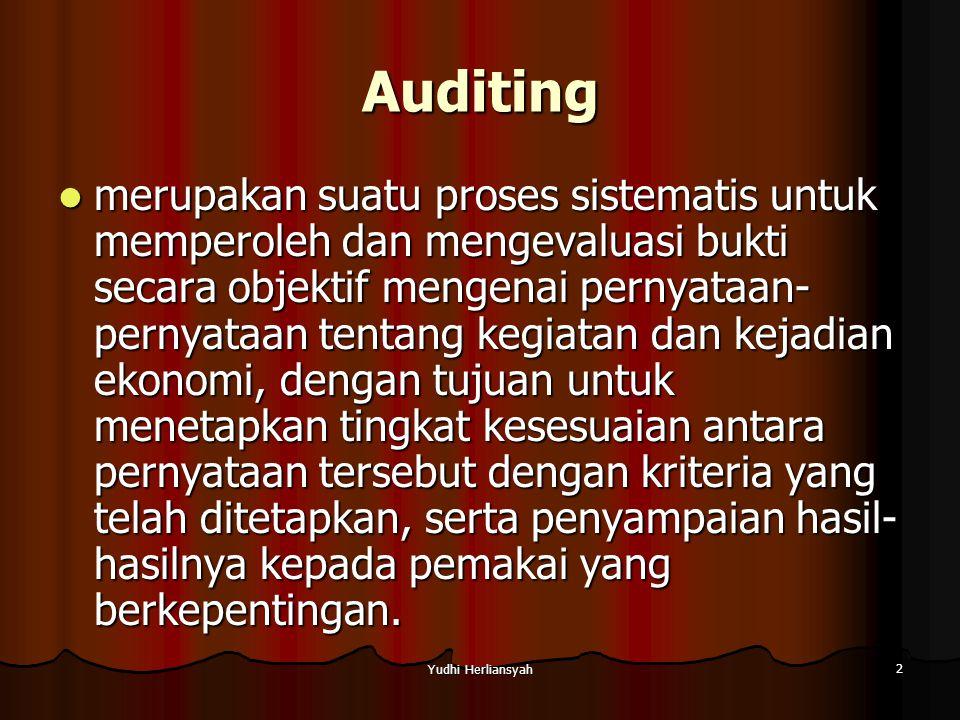 Yudhi Herliansyah 3 3 hal penting auditing (Wallace, 1980) 1.
