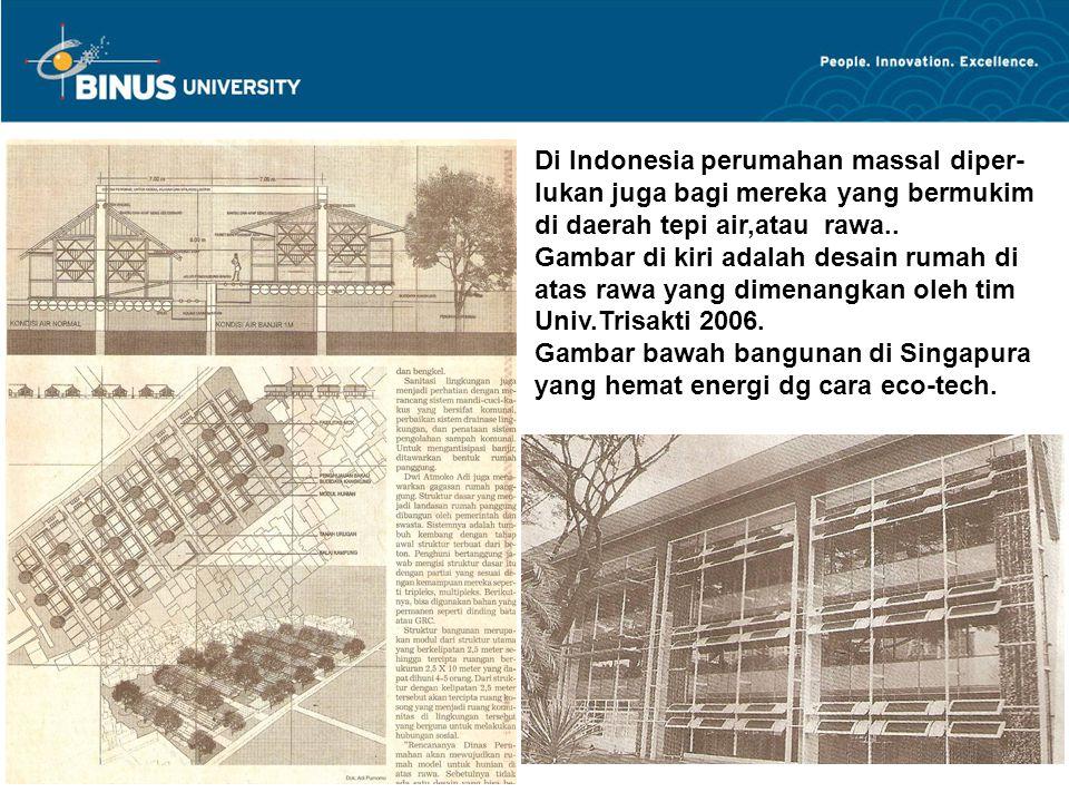 Di Indonesia perumahan massal diper- lukan juga bagi mereka yang bermukim di daerah tepi air,atau rawa.. Gambar di kiri adalah desain rumah di atas ra