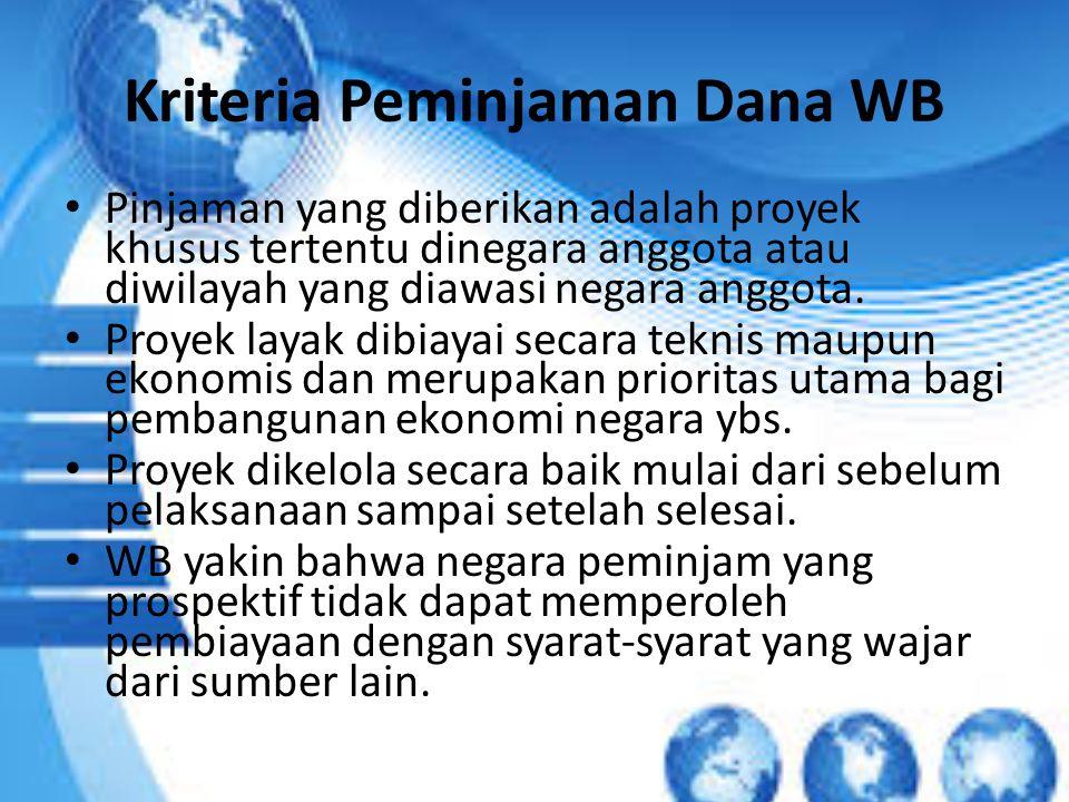 Kriteria Peminjaman Dana WB Pinjaman yang diberikan adalah proyek khusus tertentu dinegara anggota atau diwilayah yang diawasi negara anggota. Proyek