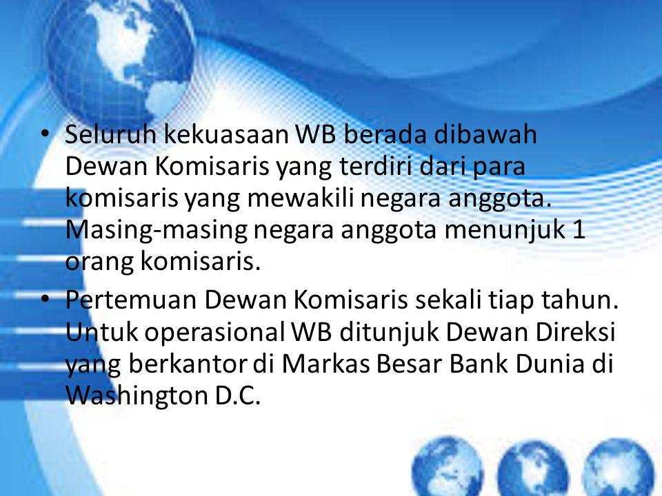Seluruh kekuasaan WB berada dibawah Dewan Komisaris yang terdiri dari para komisaris yang mewakili negara anggota. Masing-masing negara anggota menunj